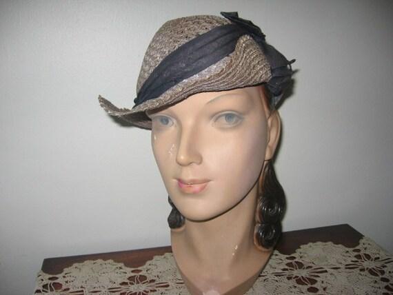 1930's Straw Slouch Hat, Jean Nedra Label!