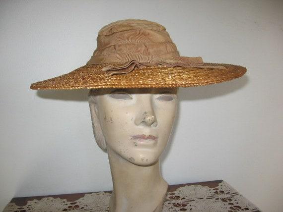1930's-40's Tan Straw Hat / Cartwheel / Wide Brim