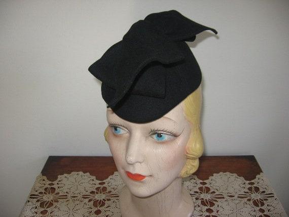 1940's Hat / Forward Tilt / Black Wool / Large Ver