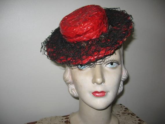"1930's-40's ""Tippy"" Hat / Red Cellophane / Tilt /"