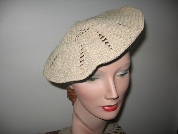1930's Hand Knit Beret/Tam and Clutch Purse Set /
