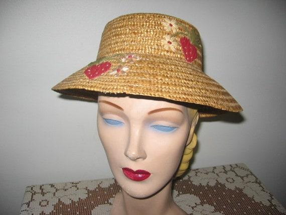 CLEARANCE / 1950's Straw Bucket Hat / Kleinert's /