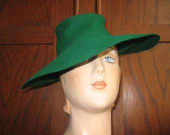 1940's Emerald Green Fur Felt Extreme Fedora!