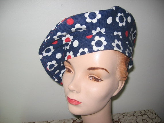1960's-70's Beret / Cotton / Flowers and Dots/ Mod