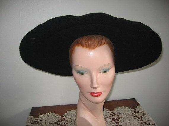 1940's-50's Hat / Cartwheel / Black Wool / New Yor