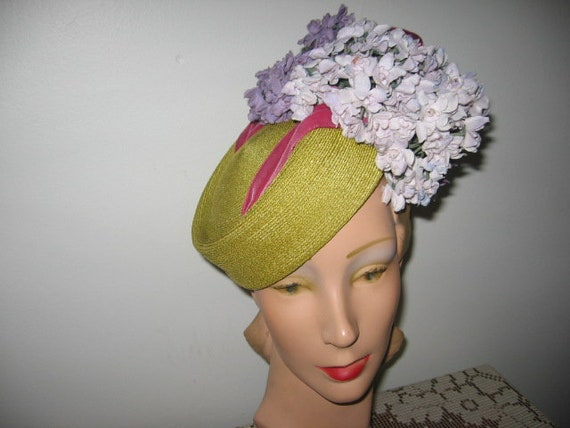 1940's Straw Hat / Pillbox / Chartreuse / Custom M