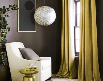 Curtains Luxury Gold Green Velvet Window Rod Pocket Curtain Panels Custom Made Home Dcor