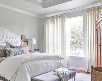 Luxury Velvet Curtain Rod Pocket Window Drapery Vintage Style Custom Made Home Dcor White