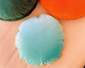 Mint Blue Luxury Velvet Cushion Cover, Vintage Style Living Room Decor