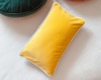 Yellow Velvet Lumbar Cushion Cover, Luxury Handmade Boho Throw Pillow, Lemon Yellow and Grey Blue Velvet Pillow Cover