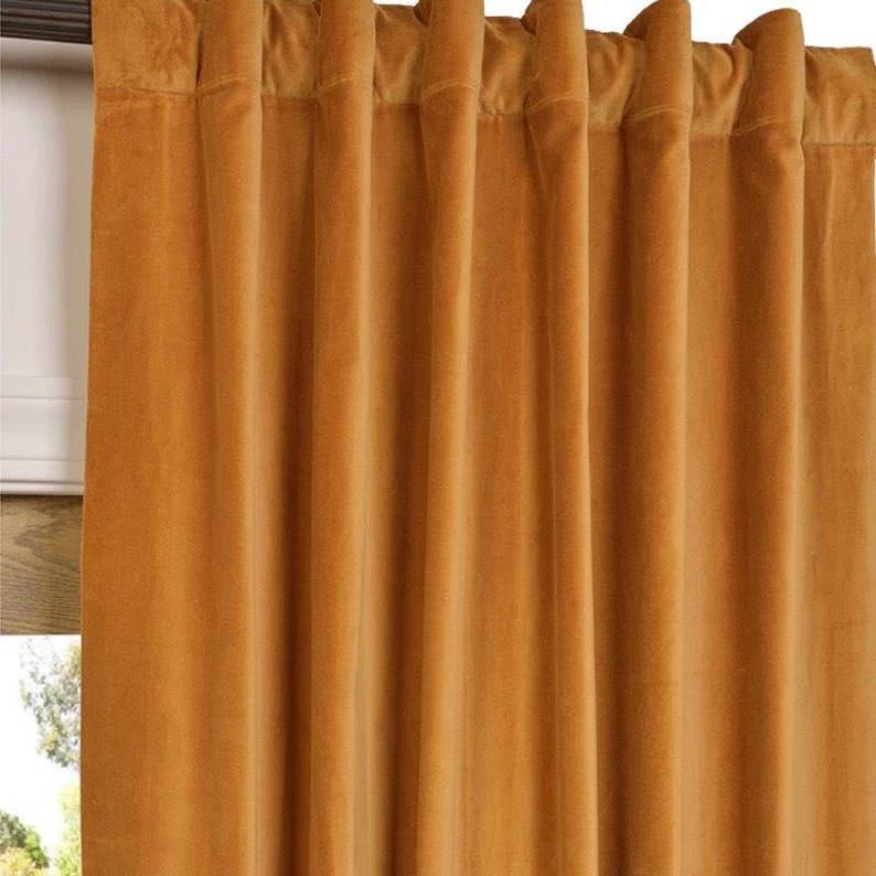 Gold Luxury Velvet Curtains  Curtains  Velvet Curtains  Curtain Panels  Rod Pocket   Custom Curtains  Vintage Style  Gold