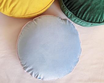 Light Gray Velvet Round Cushion Cover Throw Pillow, Gray Blue Velvet Pillow Cover