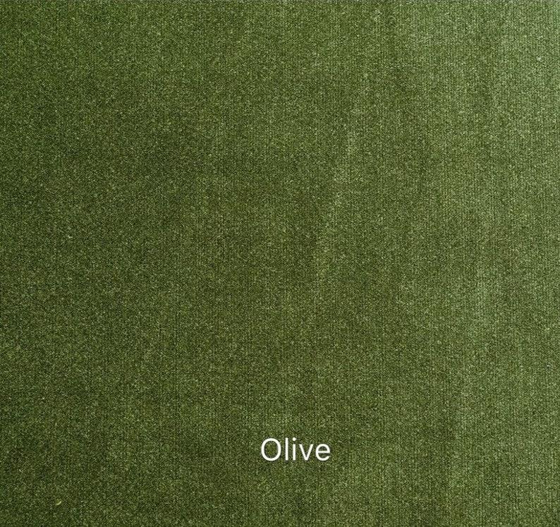 Olive Green Luxury Matt Velvet Curtains  Custom Made Curtain Panels  Rod Pocket Panels