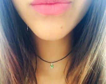 August Birthstone choker/Gemstone choker/August necklace/dainty August necklace/Peridot choker/August birthday/gift for her/Cotton choker
