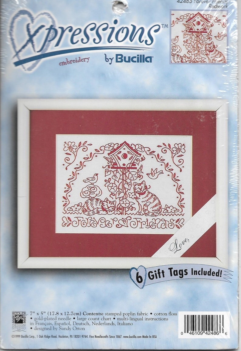 Xpressions Embroidery by Bucilla Forever Friends Redwork Kit NEW
