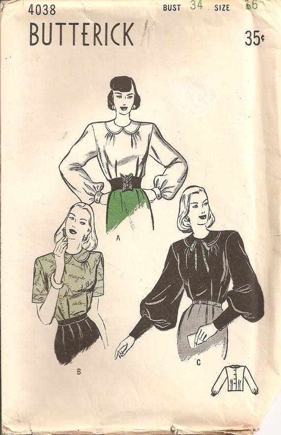Very Vintage 1940s Butterick Pattern 4038: Misses Blouse with | Etsy