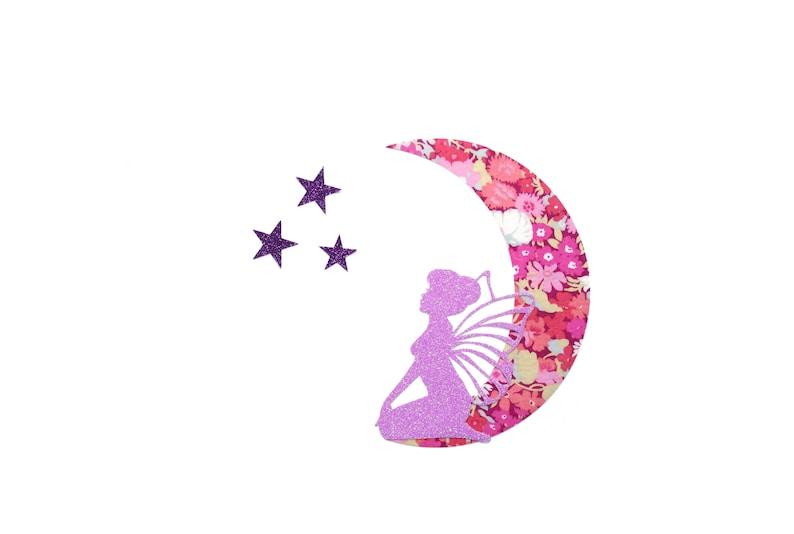 fabric iron on custom clothing ornament Mitsi custom pillow craft supply Liberty patch Fairy glitter parme moon stars