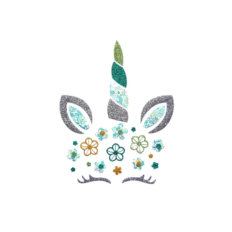 605852450c2 Fabric applique head unicorn iron on for custom clothing | Etsy