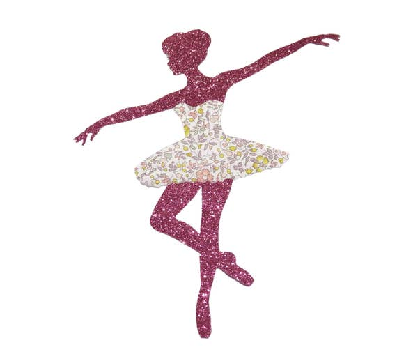 Iron-on patch ballerina shoes dance 24 glitter colors