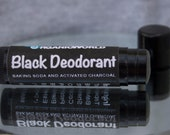 Black Deodorant Stick by Organic World Club — TRAVEL SIZE. Shea butter, baking soda, charcoal, coconut oil, 7 essential oils, no chemicals.