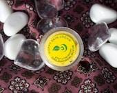Sample HAPPY SKIN CREAM (organic) with Vitamin E & Frankincense Oil from Organic World Club. Base - Creamy Yellow Shea Butter + Coconut Oil.