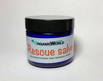 RESCUE SALVE (organic) with Sea Buckthorn Oil & Manuka Honey from Organic World Club. Base - Shea Butter and Argan Oil.