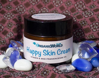 HAPPY SKIN CREAM (organic) with Vitamin E and Frankincense Oil &  from Organic World Club. Base - Creamy Yellow Shea Butter and Argan Oil.