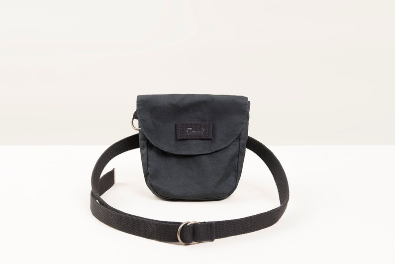 Black waxed cotton canvas waist bag. Ideal bicycle bag for image 0