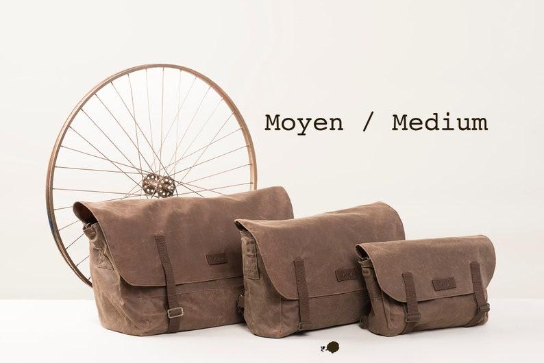MEDIUM Brown Messenger bag. Crossbody bag. Waxed canvas. Ideal image 0