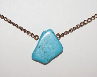 Blue Stone Copper Chain Necklace