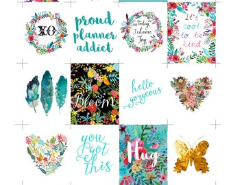 Printable Planner Stickers, Printable Stickers, Planner Supplies, Printable Planner Quotes, Instant Download