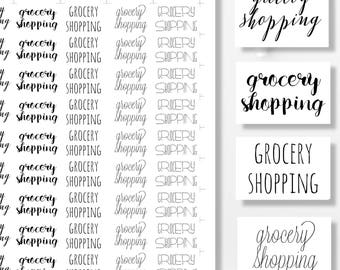 Printable Planner Stickers, Functional Stickers, Grocery Shopping,  Printable Stickers, Planner Supplies, Printable Planner Quotes