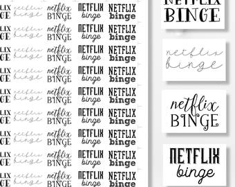 Printable Planner Stickers, Functional Stickers, Netflix Binge, Printable Stickers, Planner Supplies, Printable Planner Quotes