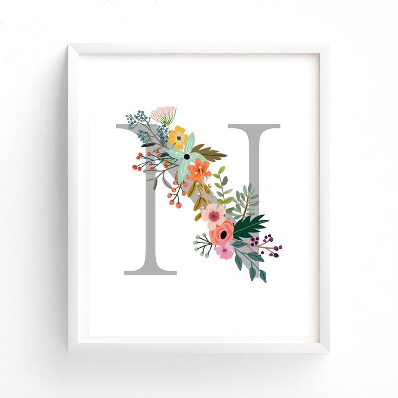 photo about Printable Letter N named Letter N, Floral, Printable Letter Monogram, Nursery Artwork. Artwork Prints, Little one Lady Nursery, Wall artwork Prints
