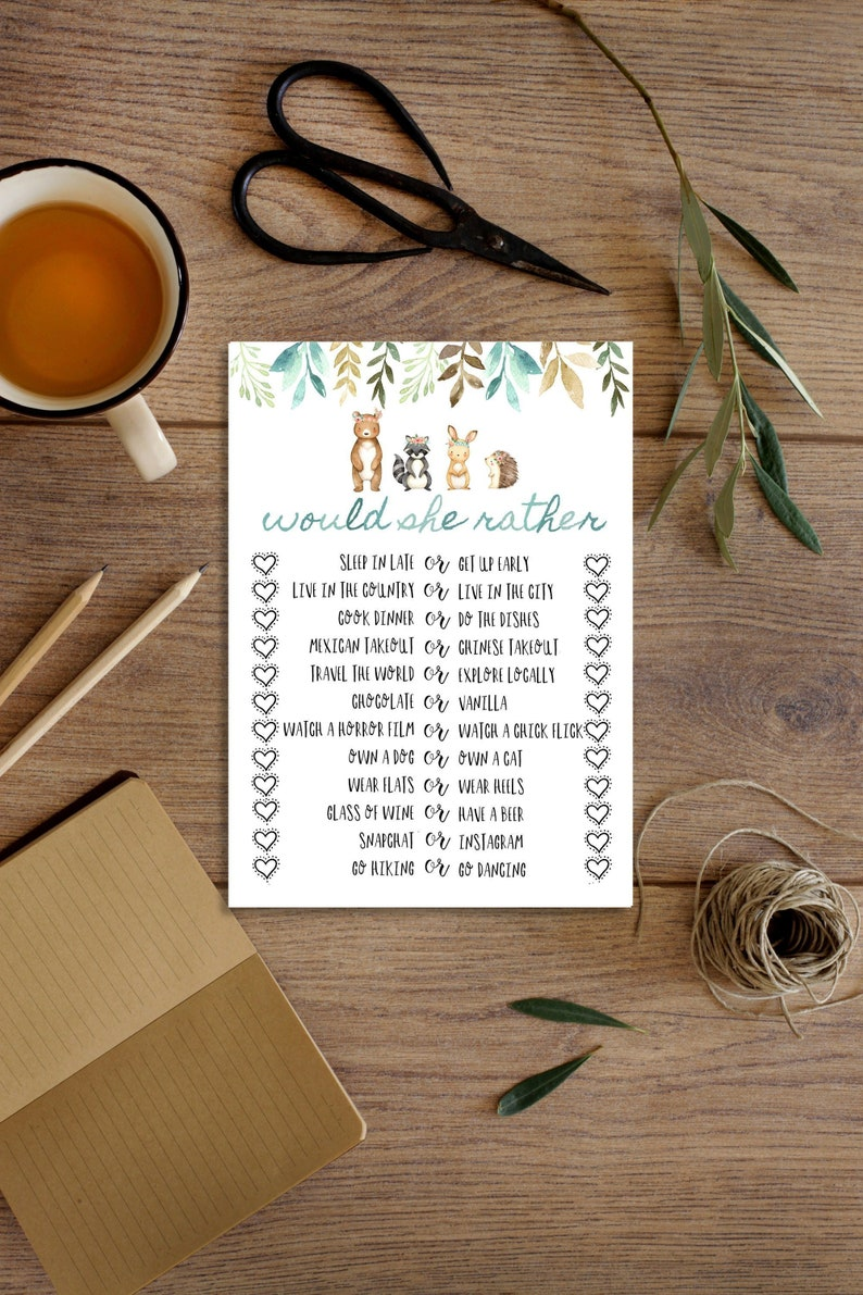 Would She Rather, Would She Rather Baby Shower Game, Baby Shower Ideas,  Baby Animals, Gender Reveal Party, Woodland Animals