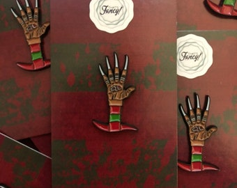 Freddy hand, nightmare on elm street enamel pin