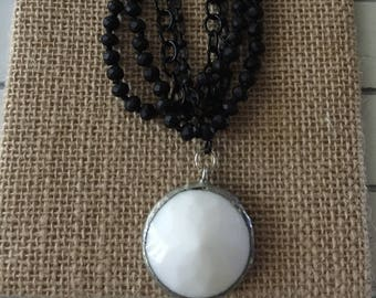 White and Black Chained Necklace