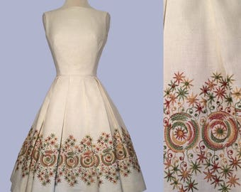 Open back 1950's Embroidered Dress/ Party Dress / Rockabilly / Bombshell VLV