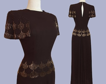 Dazzling 1940s Jersey Crepe beaded Gown / Red Carpet Worthy / Old Hollywood Glamour / 40s Evening dress