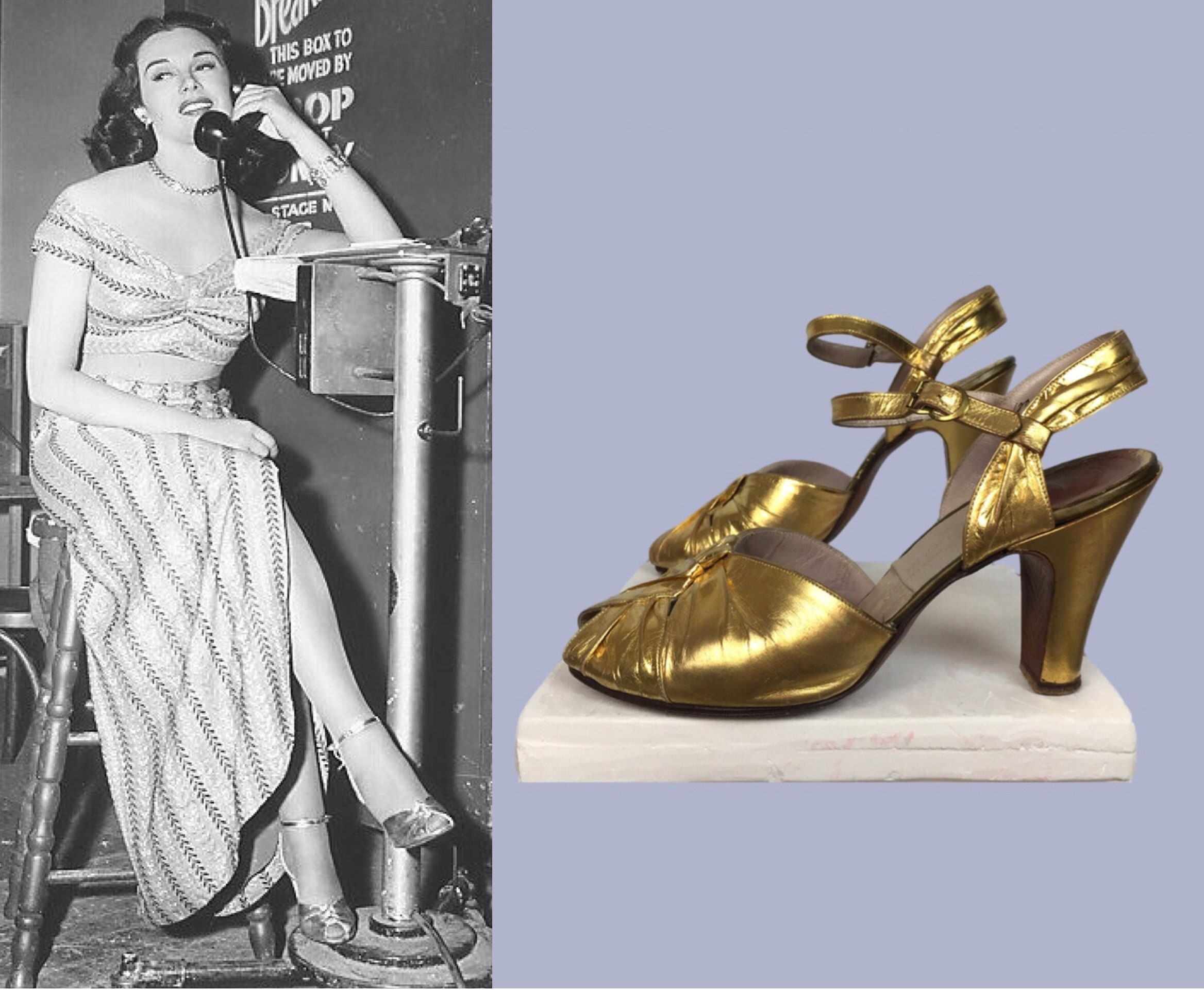 Salome 1940s Gold Metallic Dance Shoes Metallic Ankle Strap / Gold Metallic Shoes Heels / Swing Sandals WW2 /Old Hollywood 302a1a