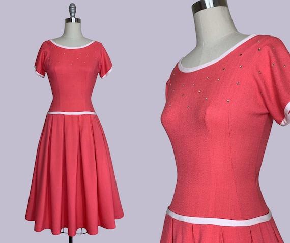 Raspberry Sorbet early 1950s New Look Day Dress /