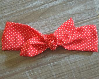 Red and White Polka Dot Headband - Red Polka Dot - Rockabilly Headband - Rosie the Riveter