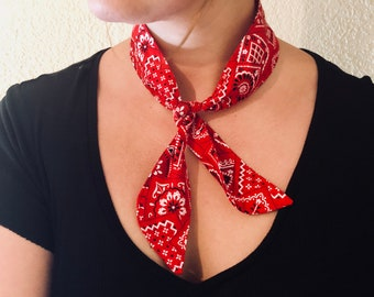 Red Bandana Neck Scarf - Neck Scarf for Women - Red Bandana - Rockabilly Neck Tie - Bandana Neck Scarf