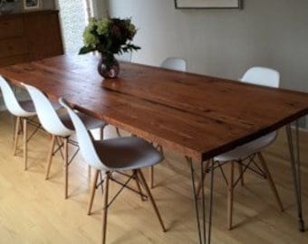 Reclaimed wood furniture etsy Pipe Reclaimed Wood Dining Table With Hairpin Legs Handmade In Portland Or Etsy Reclaimed Wood Dining Table Etsy