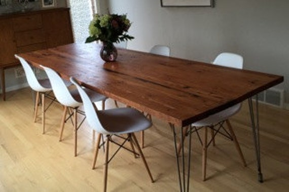 Reclaimed Wood Dining Table With Hairpin Legs Handmade In Etsy - Reclaimed hardwood dining table