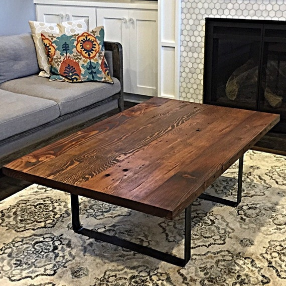 Reclaimed Wood Coffee Table Stainless Steel Legs: Reclaimed Wood Coffee Table Handmade In Portland OR