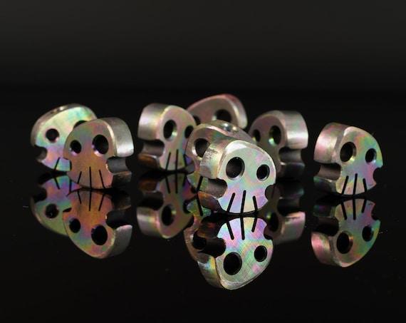 Titanium Skully Bead, 'Oil Slick'