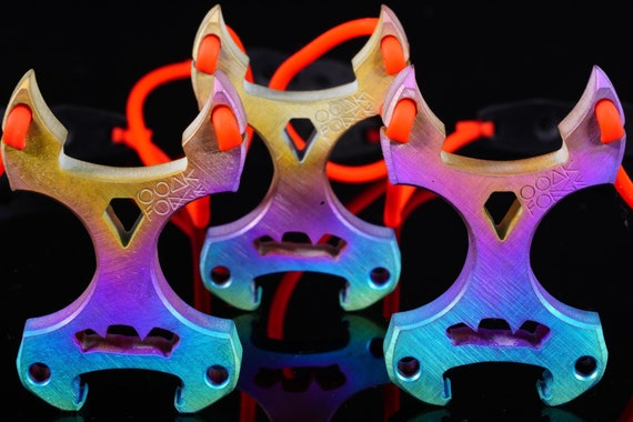 Multi-Colored, Titanium 'Horny Monster' Slingshot