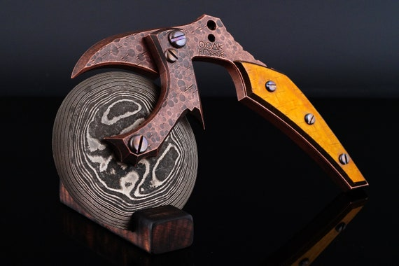 Copper Pizza Slayer Pizza Cutter with Damascus Blade