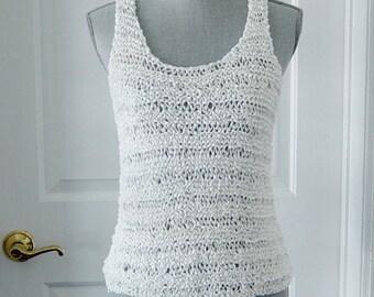 b1a51763404da White Hand Knit Tank Top